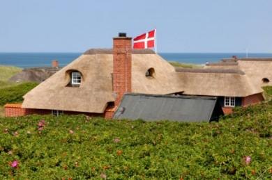 Statt Betonburgen finden sich jede Menge kleine und größere Ferienhäuser im typisch dänischen Stil, die sich nahtlos in die Dünen- und Heidelandschaft einfügen.