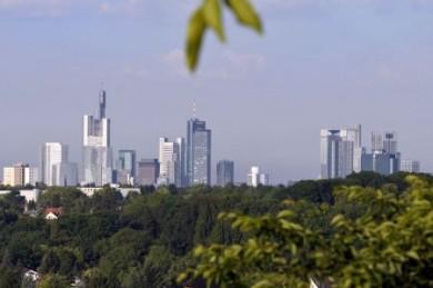 """Vom Lohrberg aus hat man eine gute Sicht auf Frankfurts """"grünen Gürtel"""" im Schatten der Skyline."""