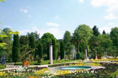 Der Kurpark mit seinem Palmengarten und der südländisch wirkenden Architektur zählt zu den Höhepunkten von Bad Pyrmont.