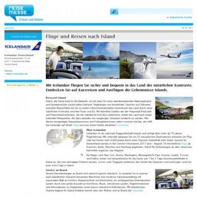 Auch wer sich für Flugreisen - etwa nach Island - interessiert, wird auf www.reisemesse.de fündig.